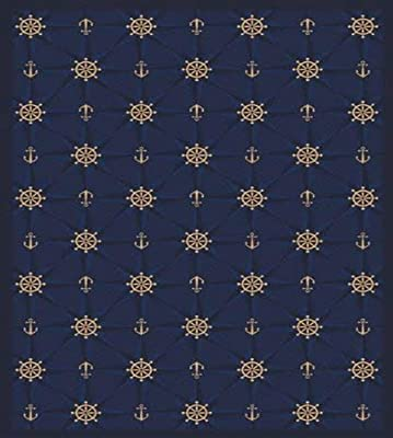 Joy Carpets Kaleidoscope Mariner's Tale Whimsical Area Rugs, 46-Inch by 64-Inch by 0.36-Inch, Navy