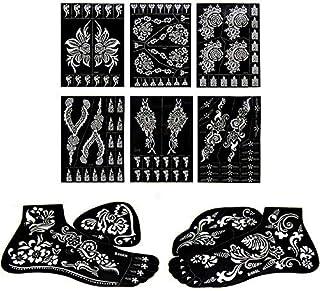 Xmasir 8 piezas estilo indio mano pie tatuaje de henna plantilla para pintar - Arte corporal