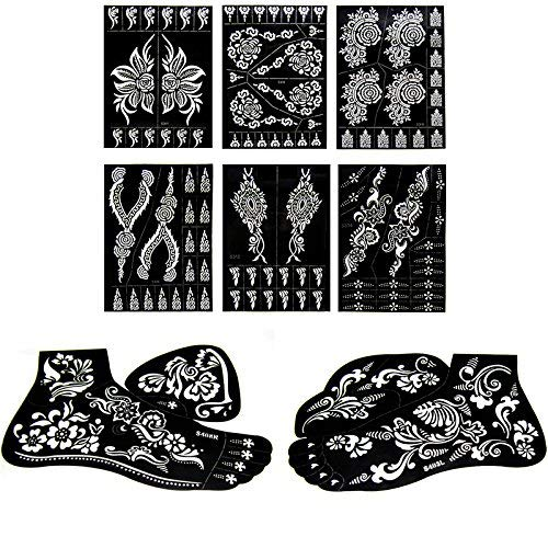 Xmasir 8 piezas estilo indio mano pie tatuaje de henna plantilla para pintar - Arte corporal Diseños para mujeres tatuaje temporal pegatinas