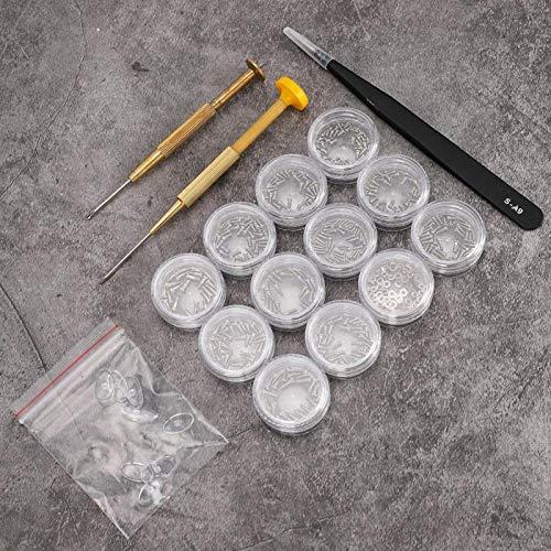 Jiawu Tornillos para Gafas, Kit de reparación óptica Tornillos para Gafas, Tornillos pequeños Tuerca + Destornillador para Gafas de Reloj 12 Rejillas para la mayoría de Las Gafas de Sol Glasse