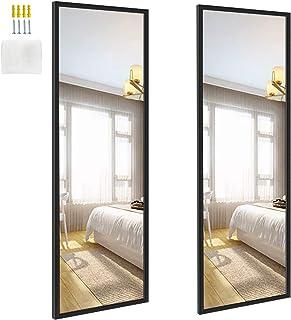 آینه های دیواری Edenseelake 2 14x48 اینچ طول کامل برای اتاق خواب ، اتاق نشیمن ، مشکی