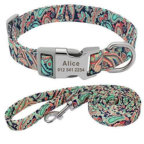 ZRDY Collar De Mascotas Cuello De Perrito De Perros De Nylon Y Collar De Correa para Perros Pequeños Grandes Medianos Control (Color : Green 6, Size : M.)