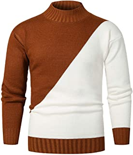 Sweaters for Men, Long Sleeve Knitting O-Neck Top Blouse Casual Patchwork Print Fall Winter Warm Pullover