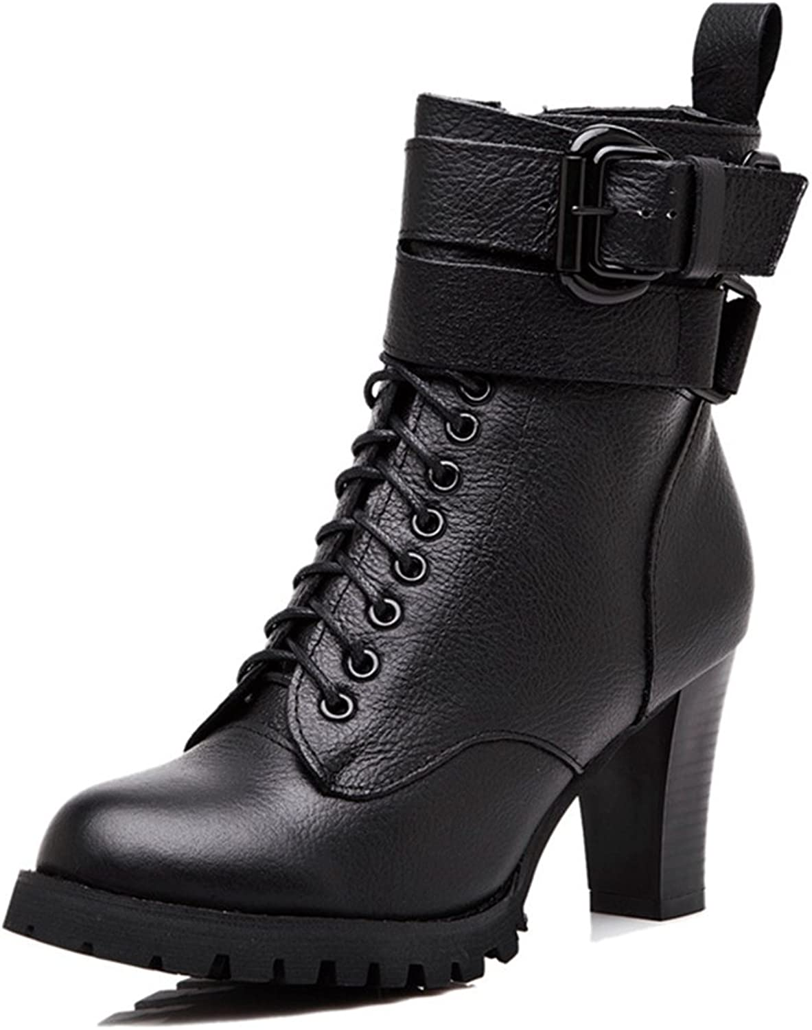 Womens Winter Fur Lining Martin Ankle Boot High Heel Round Toe Zipper Lace-up Elastic Combat Short Boots