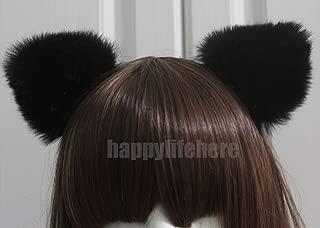 Happylifehere Furry Cat Ears Headband Bear Ears Hairband For Halloween Cosplay Prop Black