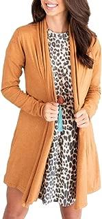 Women Light Sweater Long Sleeve Thicken Warm Open Front Long Cardigan