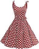 Bbonlinedress Vestidos de 1950 Estampado Vintage Retro Cóctel Rockabilly con Lazo Red White Big Dot ...