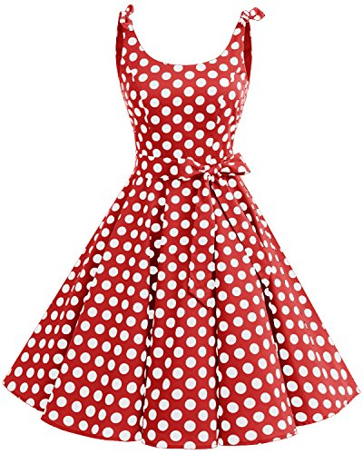 Bbonlinedress 1950er Vintage Polka Dots Pinup Retro Rockabilly Kleid Cocktailkleider Red White Big...
