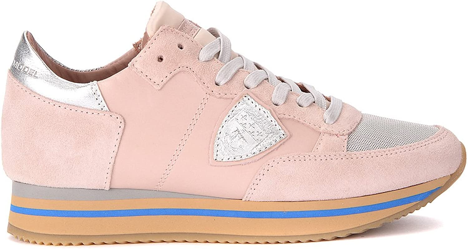 PHILIPPE MODEL Woman's Tropez Pink and Silver Leather Suede and Leather Sneakers