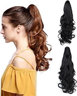 """Claw Clip Ponytail Hair Extension - Remeehi Body Wave Remy Human Hair Jaw Ponytails Hairpiece For Black Women (18"""" 105g 2#)"""
