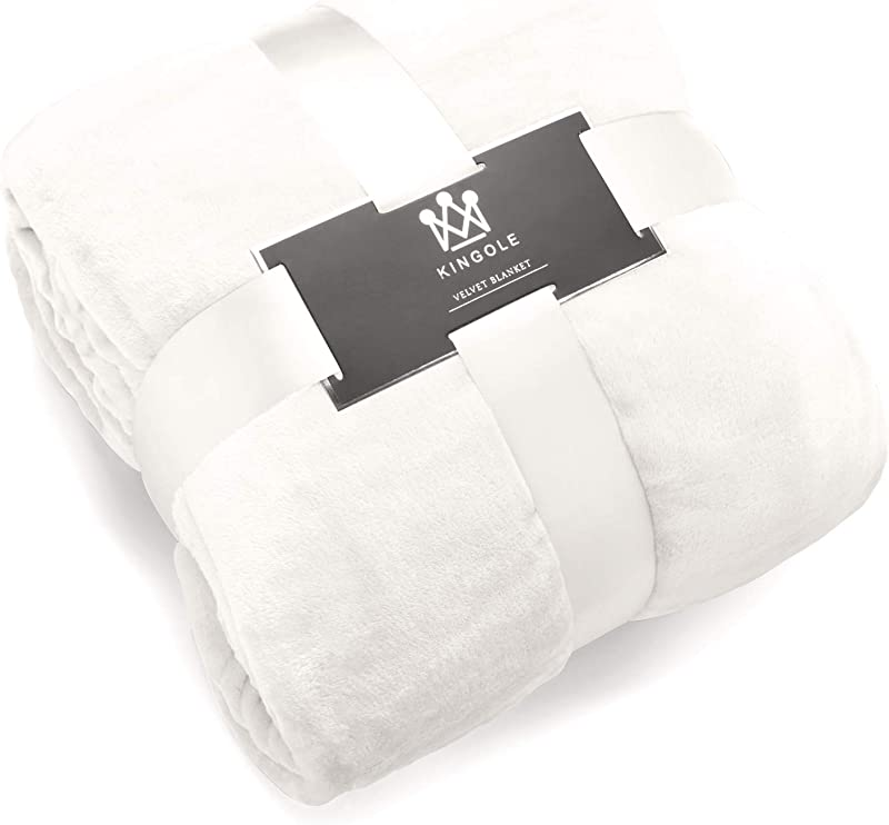 Kingole Flannel Fleece Microfiber Throw Blanket Luxury Cream White Queen Size Lightweight Cozy Couch Bed Super Soft And Warm Plush Solid Color 350GSM 90 X90