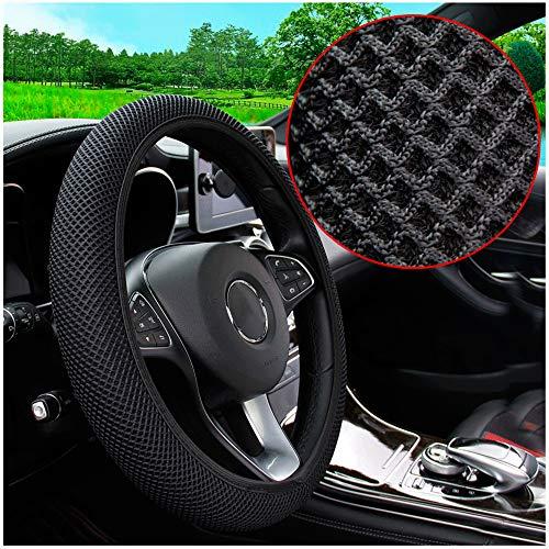 MRTIOO Soft Microfiber Ice Silk Elastic Steering Wheel Cover, Cold or Hot Universal 15 inch, Fit Suvs, Vans, sedans, Cars, Trucks - New Black