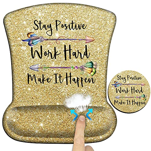 Ergonomic Gaming Mouse Pad with Wrist Support Gel, Stay Positive Work Hard Make It Happen Computer Mouse Pad for Laptop w/Quote, Gel Mouse Pad with Wrist Rest, Mouse Pad Wrist Support-Yellow Gold