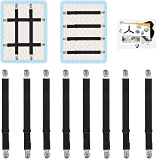 8Pcs Adjustable Bed Sheet Straps Clips, Elastic Mattress Sheet Fasteners Holder and Suspenders, Grippers to Hold Sheet, Ma...