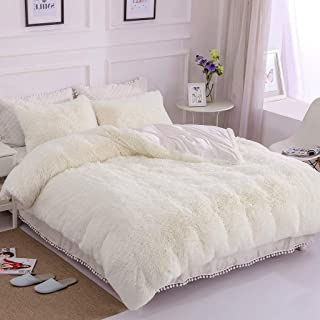 Uhamho Faux Fur Velvet Fluffy Bedding Duvet Cover Set Down Comforter Quilt Cover with Pillow Shams, Ultra Soft Warm and Durable (Queen, Cream White)