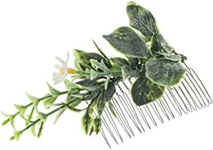DDazzling Green Leaves Hair Comb Eucalyptus Hair Comb Flower Hair Piece Bridal