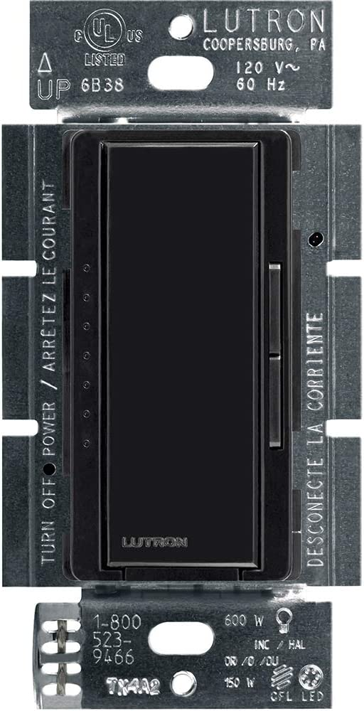 Lutron Maestro LED+ Dimmer for Dimmable LED, Halogen and Incandesent Bulbs   Single-Pole or Multi-Location   MACL-153M-BL   Black