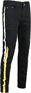 Men's Skinny Ripped Jeans Side Srtiped Distressed Stretch Denim Pants