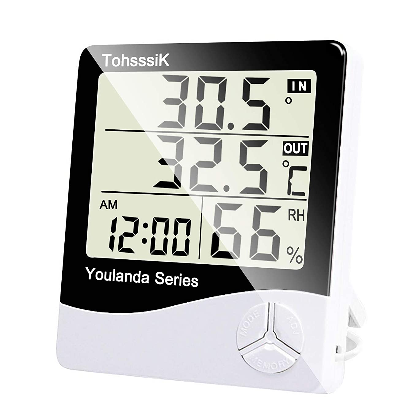 Tohsssik Indoor Digital Thermometer Hygrometer, Outdoor Mini Temperature Monitor Humidity Gauge for Room with Alarm Clock