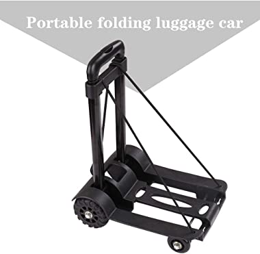 Pollyhb Folding Hand Truck, 155 lbs Heavy Duty Solid Construction Utility Cart for Luggage with 4 Wheels and Portable Fold Up Dolly,Lightweight and Compact Luggage Cart for Travel, Office (Black)
