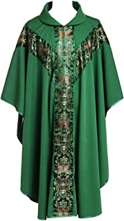 BLESSUME Green Chasuble Catholic Church Father Priest Mass Vestments