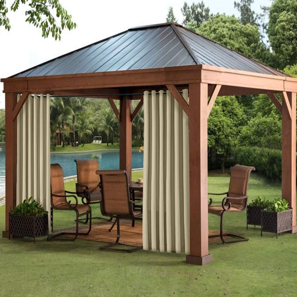 . Covered Patio Gazebo 1 Panel Cabana Pergola Waterproof Rustproof Grommet Eyelet Drapes For Front Porch Dock Fade Resistant Outdoor Curtain Khaki 50W x 108L and Beach Home