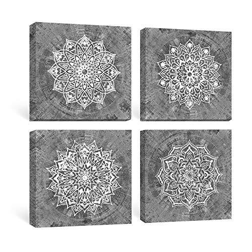 SUMGAR Kunstdrucke Auf Leinwand Wandkunst Schlafzimmer Boho Dekor Graue Gemälde Graue Mandala Bilder Weiße Blumendrucke Indische Böhmische Geometrische Dekorationen Kunstwerk Set von 4,30x30 cm