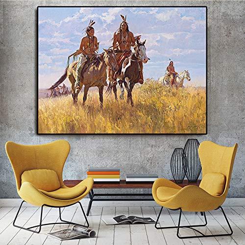 SADHAF Poster Indianen en stempel op canvas, Scandinavische muurverf in paardensalon Portrait olieverfschilderij 50x70cm (pas de cadre) A3