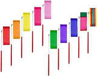 MAGICMAI Dance Ribbons Streamers Rhythmic Gymnastics Ribbon Wands Rods for Children Art Dances, Baton Twirling, 10 Pieces
