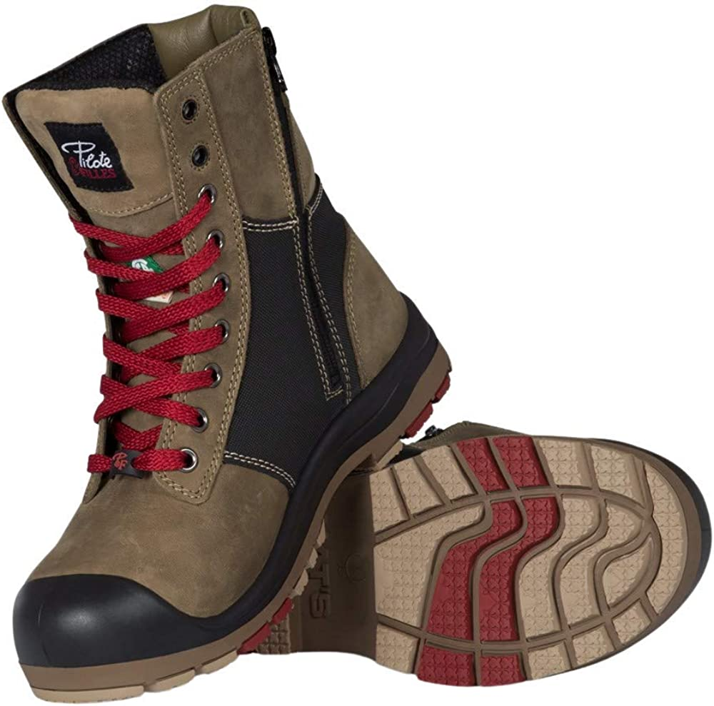Lightweight Steel Toe Safety Boots for Women with Zipper   Kaki/Green