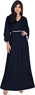 Womens Long Elegant V-Neck Batwing Sleeve Cocktail Kaftan Maxi Dress