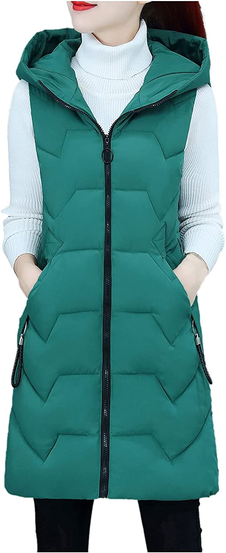 Women Sleeveless Winter Hoodie Slim Hooded Vest Coat Warm Casual Puffer Vest Mid Length Down Waistcoat Jacket