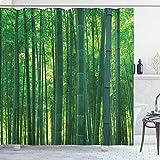 ABAKUHAUS asiatisch Duschvorhang, Grüner Wilder exotischer Bambus, mit 12 Ringe Set Wasserdicht Stielvoll Modern Farbfest & Schimmel Resistent, 175x200 cm, Grün