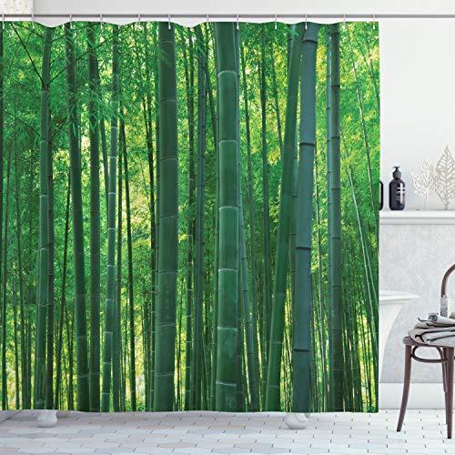 ABAKUHAUS asiatisch Duschvorhang, Grüner Wilder exotischer Bambus, mit 12 Ringe Set Wasserdicht Stielvoll Modern Farbfest und Schimmel Resistent, 175x200 cm, Grün