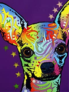 JOLOMOY Paint by Numbers Kits for Adults, DIY Digital Oil Painting by Number for Kids Beginner - Cute Colorful Chihuahua Puppy 16X20 inch Number Painting (Frameless)