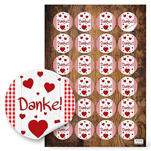 DANKE, vierkante stickers, rond, rood/witte hartjes, plakfolie, 4 cm, zelfklevend, etiketten voor gasten, geschenken, bruiloft, verjaardag, bedankkaarten, geschenken