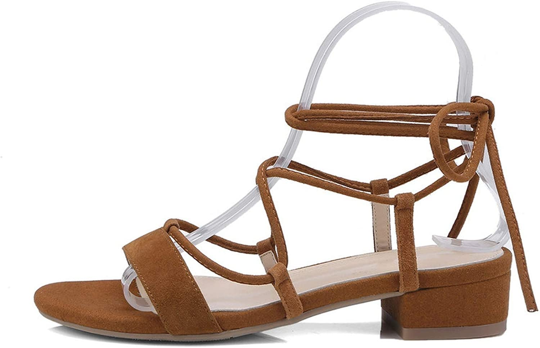Women Sandals Square Mid Heel Casual Women shoes Platform Kid Suede,