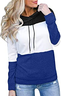 Aniywn 2019 New Women's Pullover Sweatshirts Ladies Patchwork Color Block Long Sleeve Popular Jumper Tops Blouse