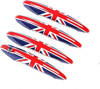 Red/Blue Union Jack UK Flag ABS Sticker Cover Trim Cap for Mini Cooper ONE S JCW R Series R60 Countryman R61 Paceman 2010-2016 (Door Handle with Key Hole 4 Pieces)