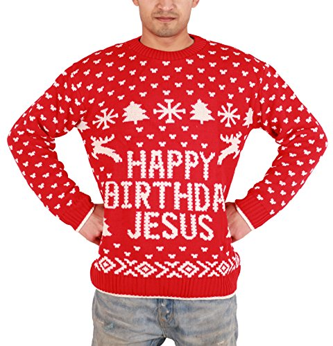 Felpa da uomo, da adulti, motivo: Babbo Natale nudo con scritta 'Merry Christmas' ricamato Birthday Jesus Red Medium