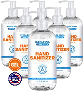 Hydra Pearl Hand Sanitizer Gel - 70% Alcohol - Unscented - Made in USA (10 oz (6-Pack))