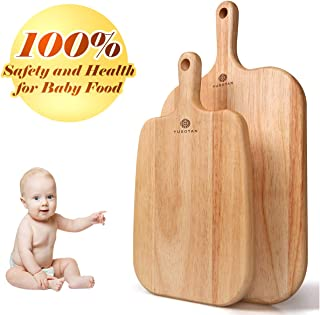 Wood Cutting Board with Handle,Set of 2(10.2 & 13Inch) Premium Quality & Elaborate Handiwork Chopping Board,FDA approved (For Infant Food,Fruit,Vegetables,Cheese) YUSOTAN