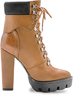 EUYZOU Women's Fashion Lace Up Platform Ankle Boots - Comfy Round Toe Chunky High Heel Booties