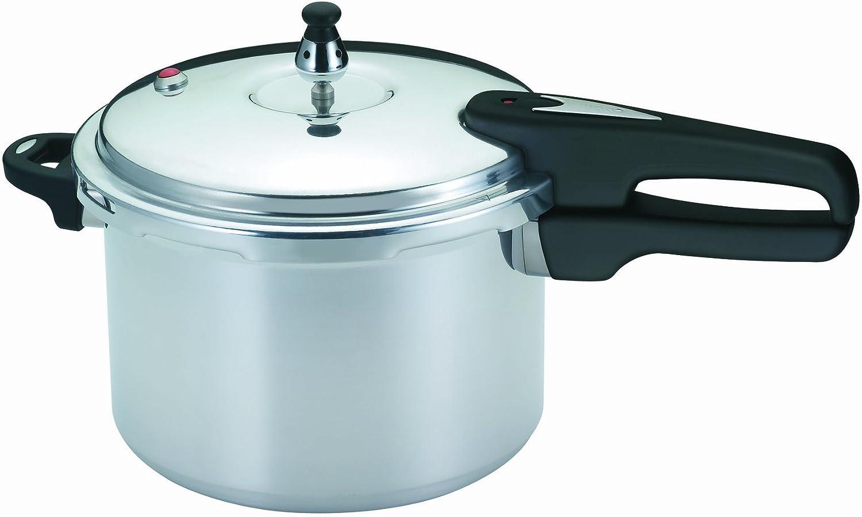 Mirro 92160A Polished Aluminum 10-PSI Pressure Cooker Cookware, 6-Quart, Silver