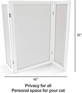 PetFusion ModestCat Litter Box Privacy Screen (3' Tall; 4' Wide, White). Cat Litter Box Furniture Best for Your Cat's Health