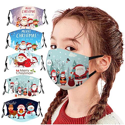 5PCs Kids Reusable Face_Mask, Christmas Snowman Washable Cotton Earloop Protection Breathable Face Bandana for Children