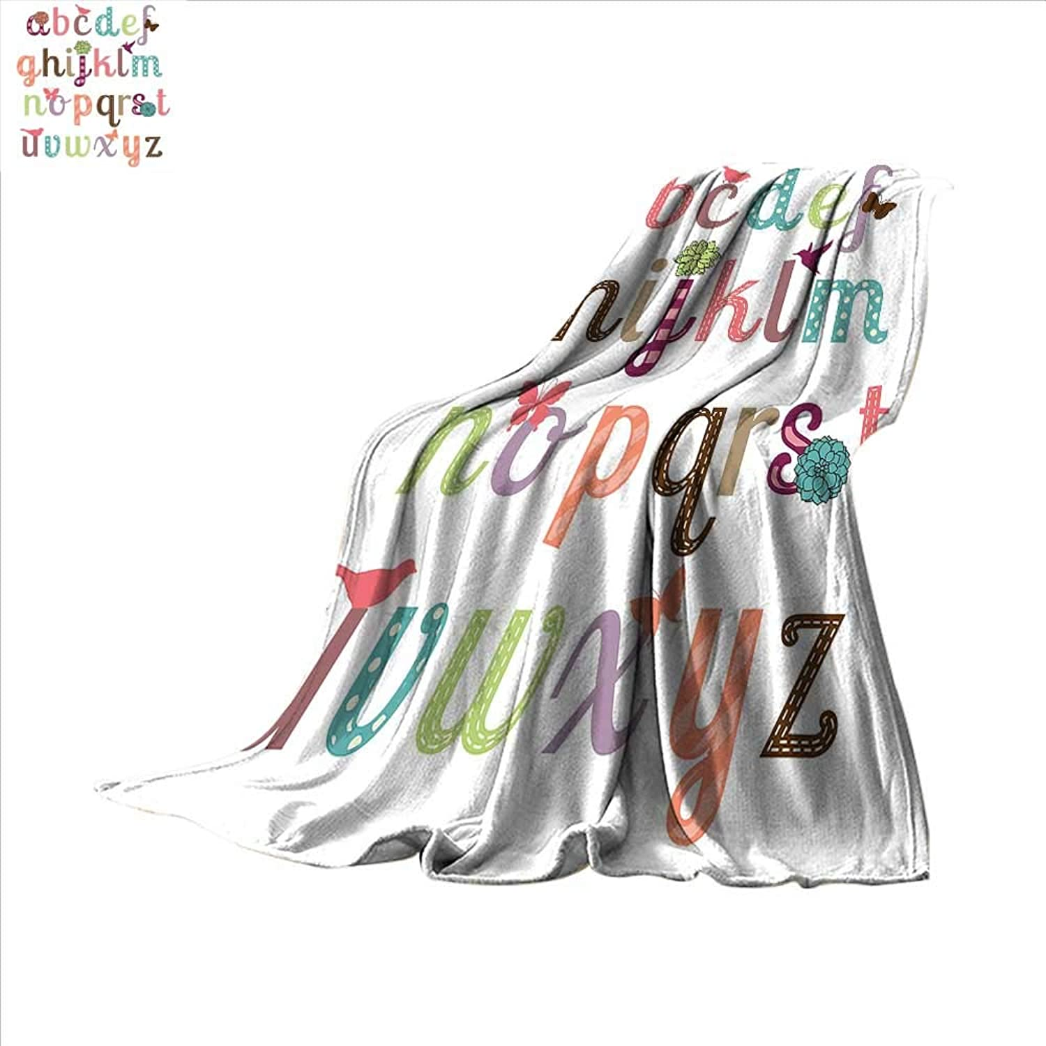 Smallbeefly Letters Super Soft Lightweight Blanket Girly Feminine Typography Set colorful Letters with Flowers Birds and Butterflies Oversized Travel Throw Cover Blanket 62 x60  Multicolor