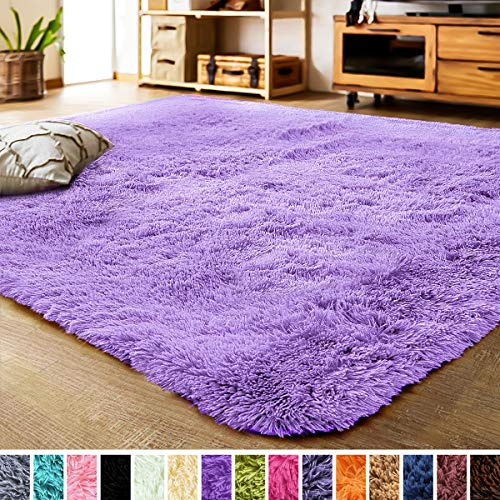 LOCHAS Luxury Velvet Shag Area Rug Modern Indoor Fluffy Rugs, Extra Soft and Comfy Carpet, Cute Color Furry Bedroom Carpets for Kids, Nursery, Girls, Baby, Living Room (3x5 Feet, Purple)