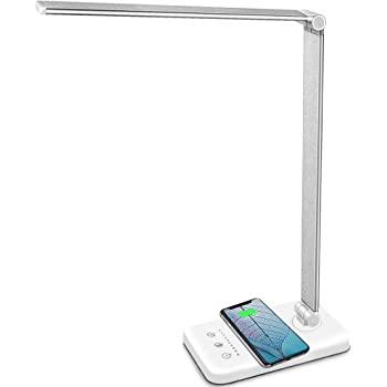 MCHATTE LED Desk Lamp with Wireless Charger, USB Charging Port, Dimmable Eye-Caring Desk Light with 5 Brightness Levels & 5 Lighting Modes, Touch Control, Auto Timer (White)