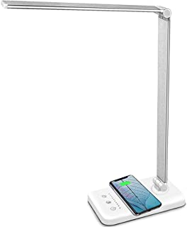 MCHATTE LED Desk Lamp with Wireless Charger, USB Charging Port, Dimmable Eye-Caring Desk Light with 5 Brightness Levels & ...